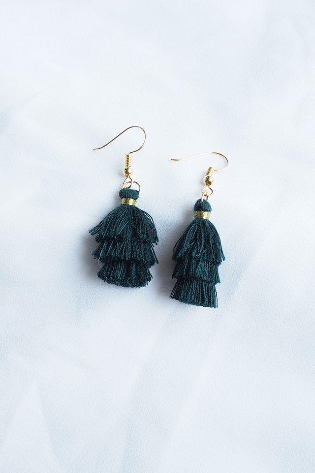 Mini Tassel Earrings (Forest)