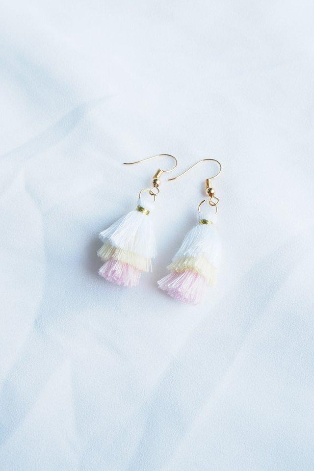 Mini Tassel Earrings (Powder)