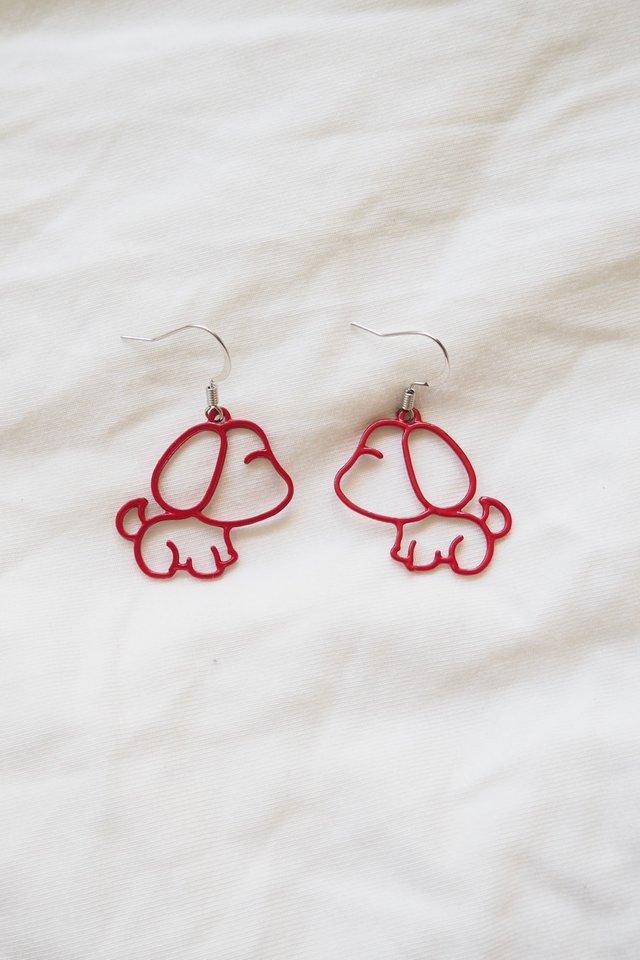 Puppy Earrings (Red)