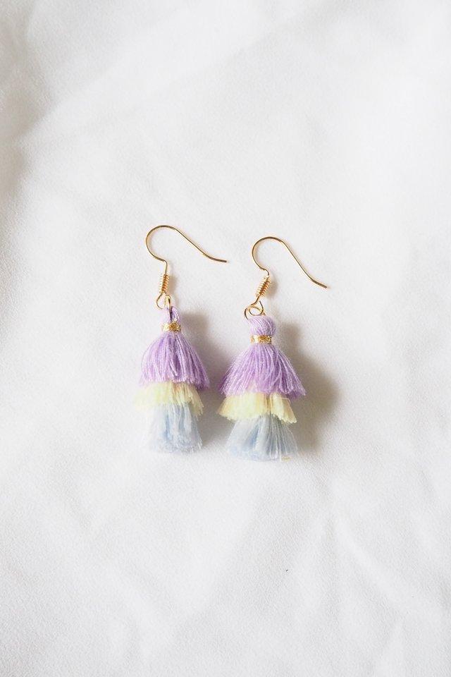 Mini Tassel Earrings (Purple)