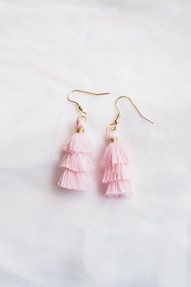 Mini Tassel Earrings (Baby Pink)