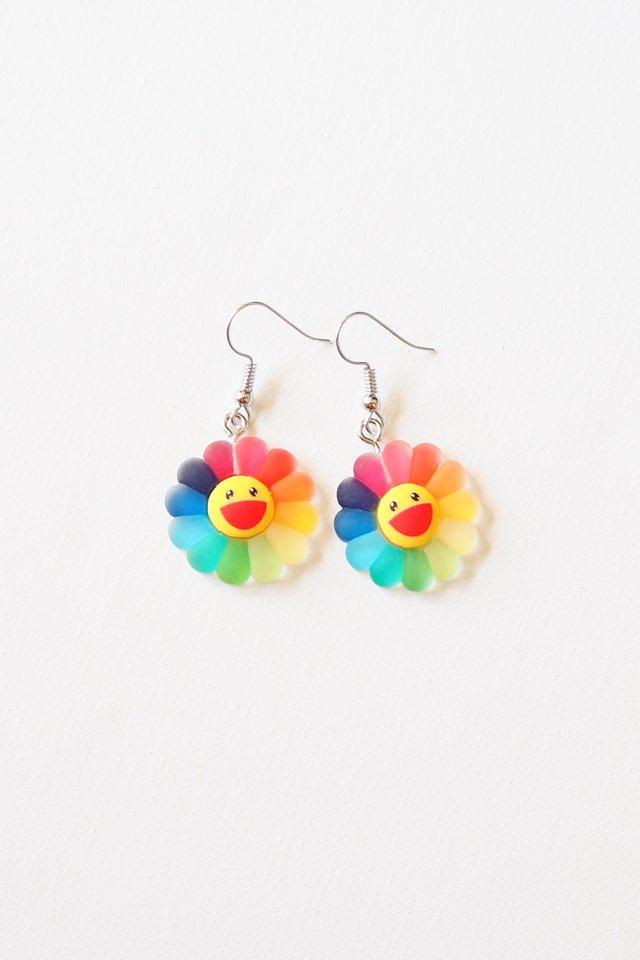 Rainbow Sunflower Earrings