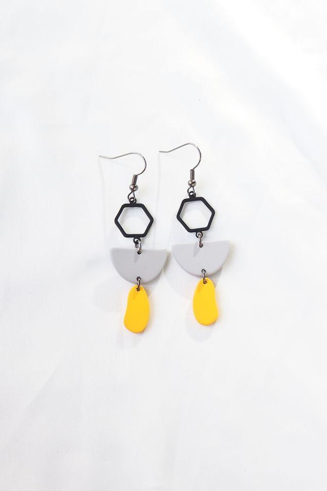 Mini Geometric Earrings (Yellow)