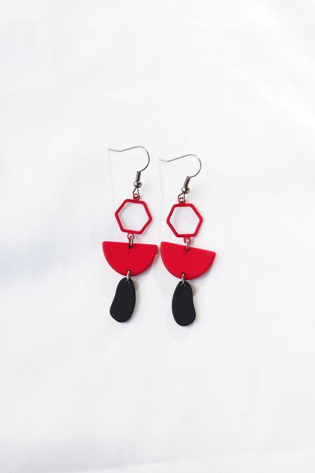 Mini Geometric Earrings (Red)