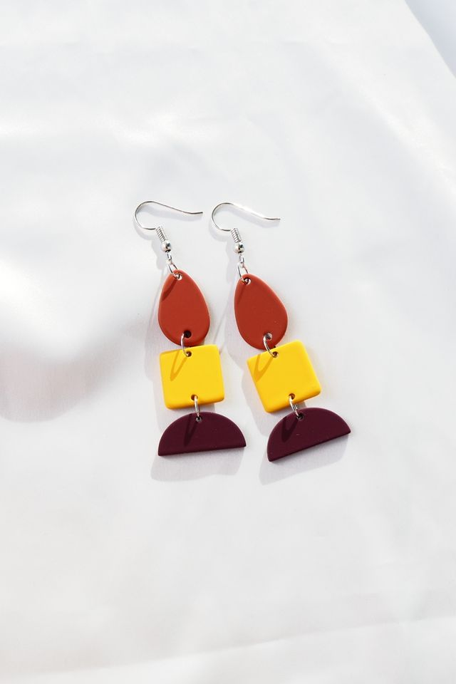 Layered Geometric Earrings (Yellow)