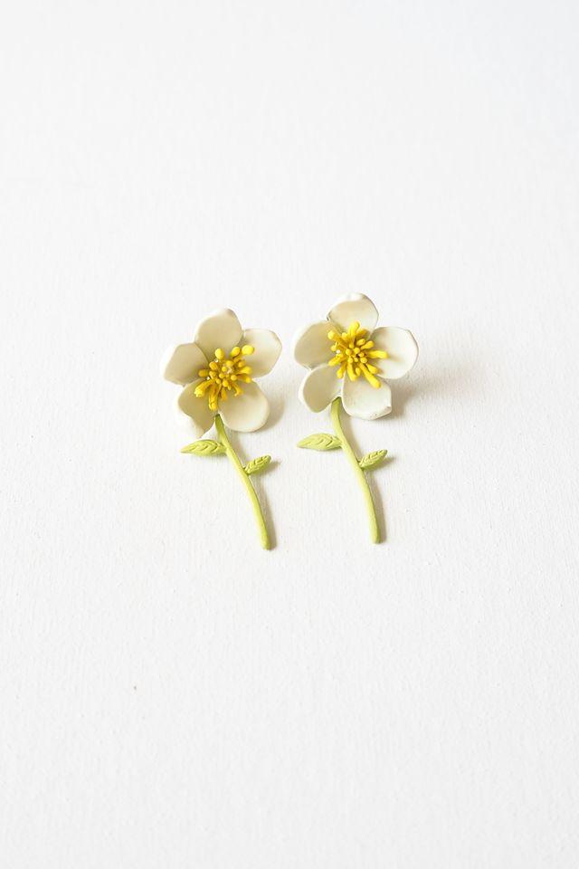 2 Way Flower Earstuds (White)