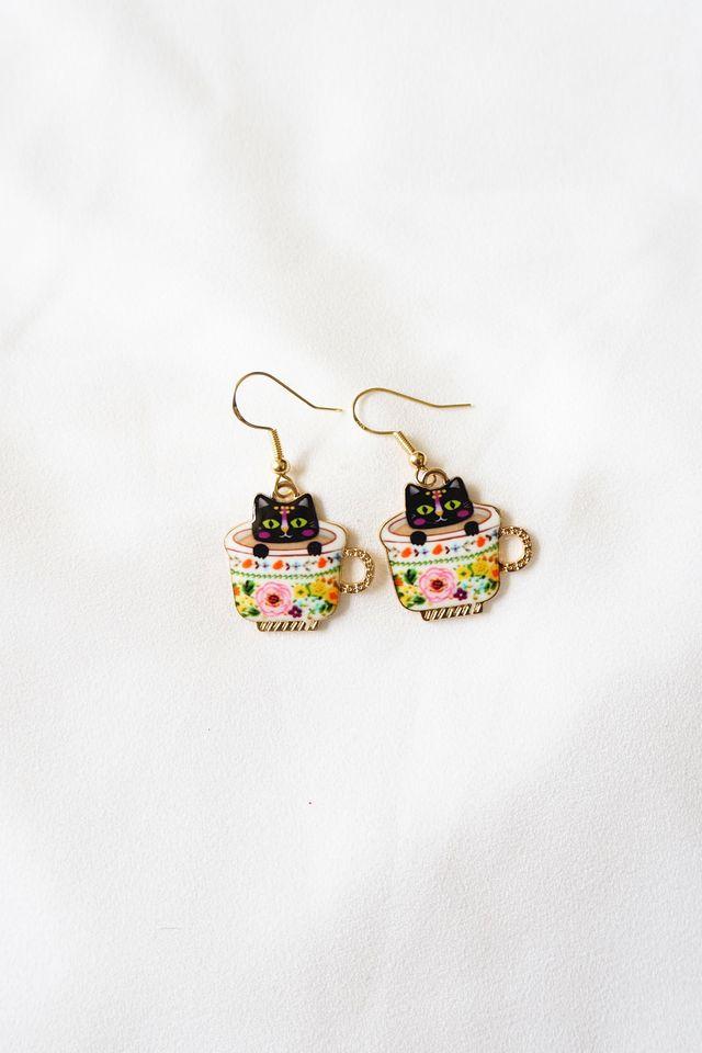 Kitty Cup Earrings (Cream)