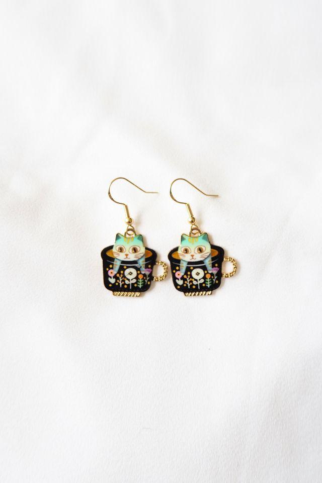 Kitty Cup Earrings (Black)