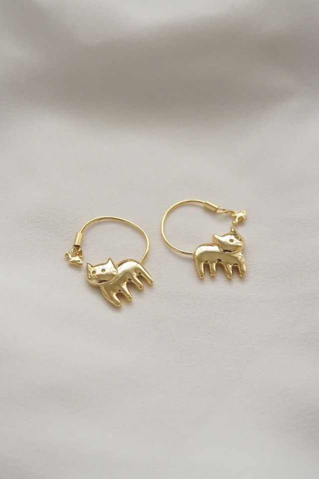 Cat & Fish Earrings (Gold)