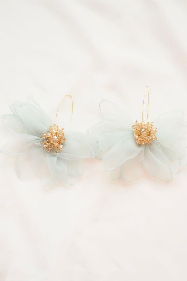 Chiffon Flower Hooks (Mint)
