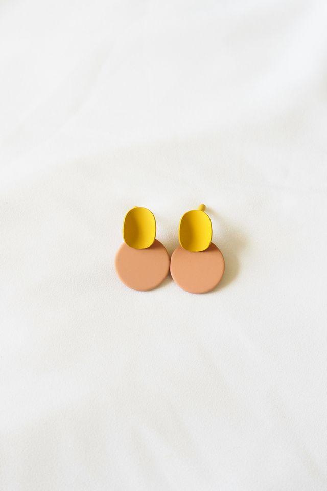 Mini Colourblock Earstuds (Beige)
