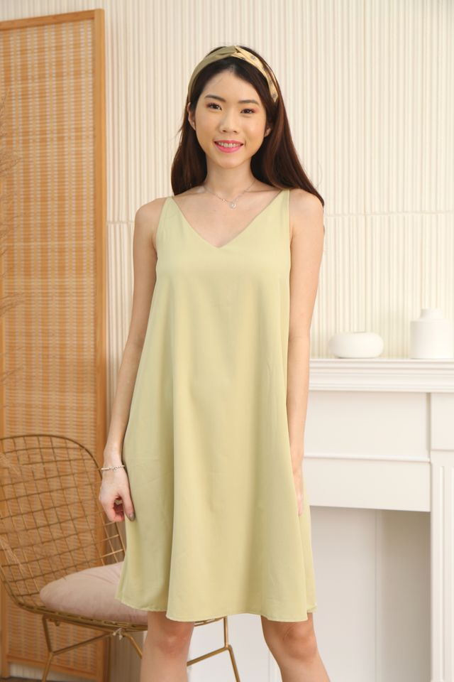Two Way Trapeze Dress in Apple Green