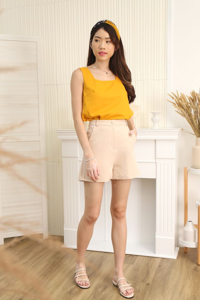 Square Neck Top in Mustard