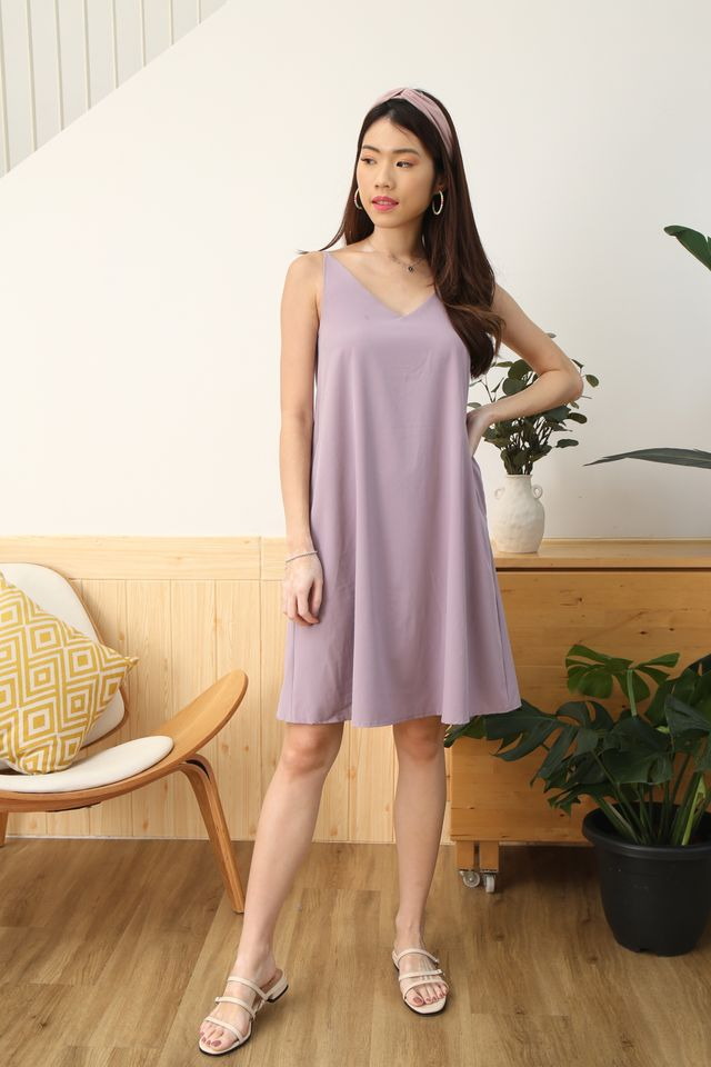 Two Way Trapeze Dress in Lilac