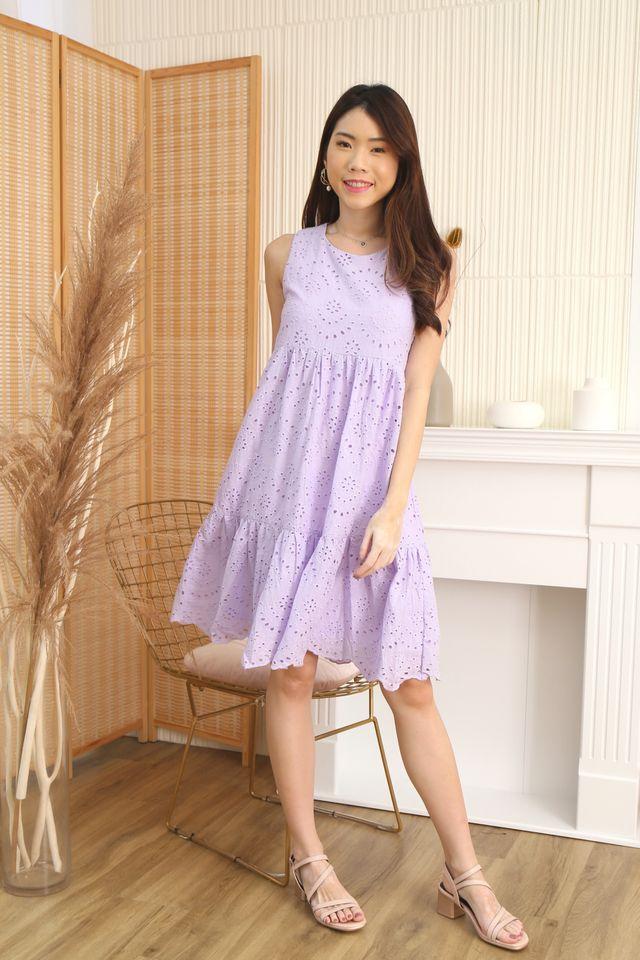 Eyelet Babydoll Dress in Lilac [S/XL]