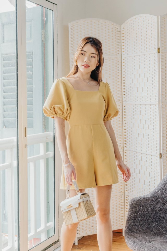 Puffy Sleeves Romper in Sunny [XS/S/L]