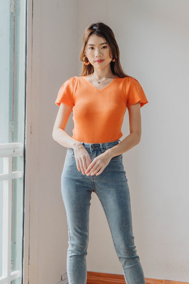 Flutter Sleeve Knit in Orange
