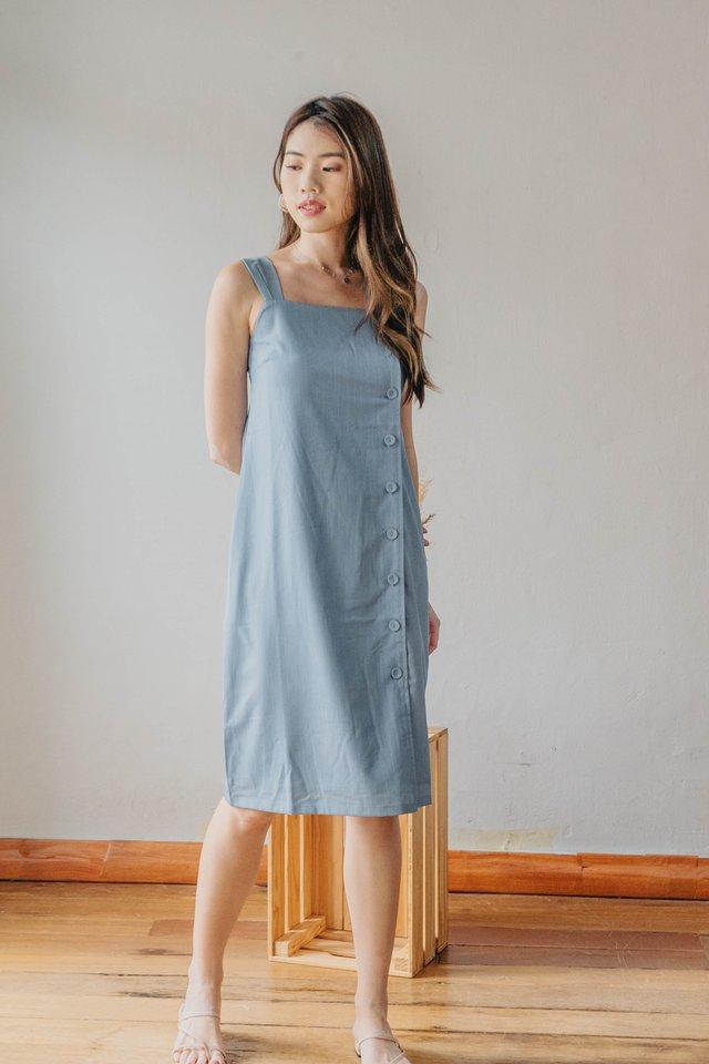 Maxim Button Down Dress in Denim Blue