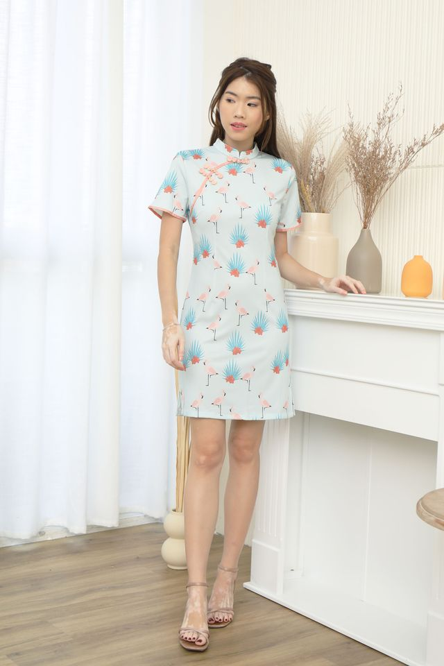 Cute Cheongsam Dress in Flamingo