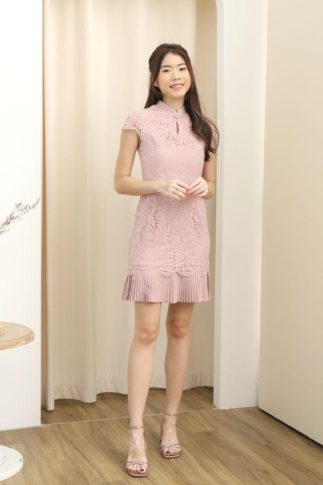 Pleated Hem Cheongsam Dress in Pink