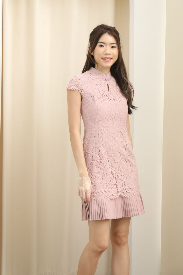 Pleated Hem Cheongsam Dress in Pink