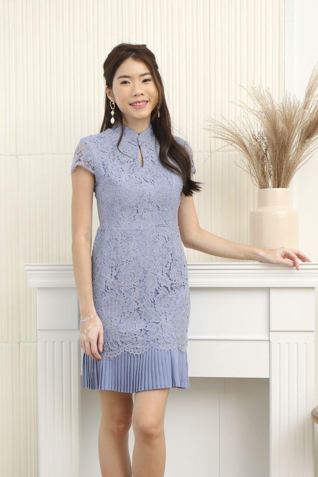 Pleated Hem Cheongsam Dress in Periwinkle