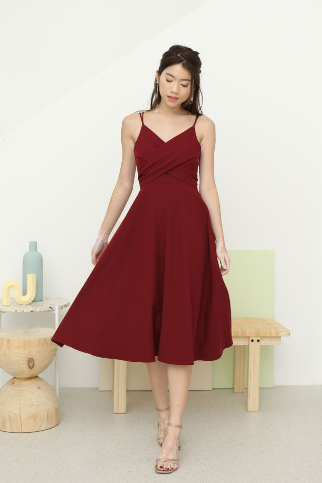 Edelle Wrap Dress in Wine [L]