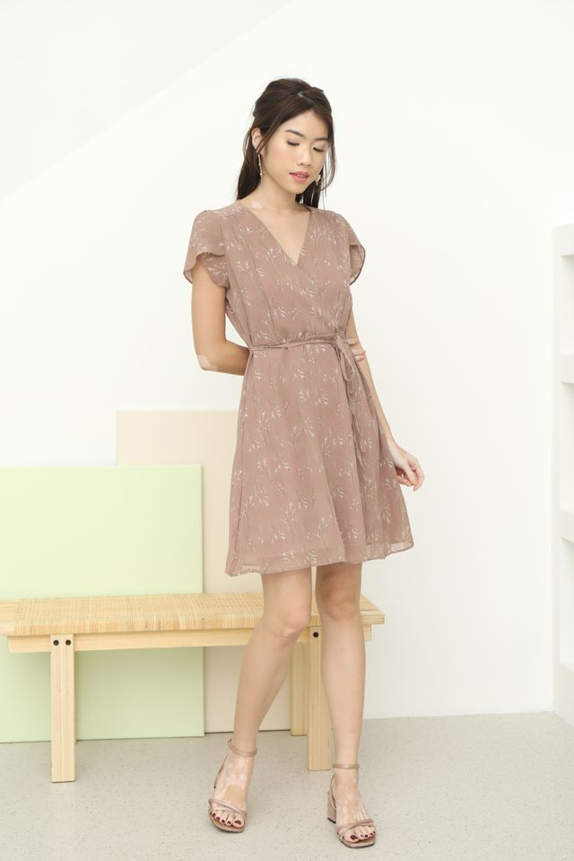 Ciel Floral Dress in Muted Rose