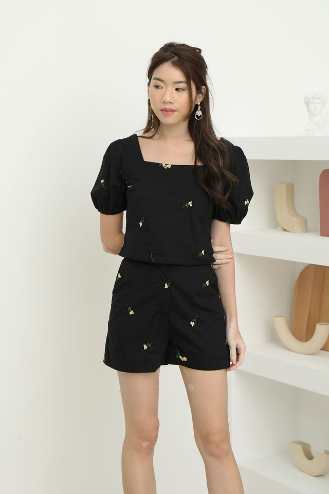 Embroidery Two Piece Set in Black