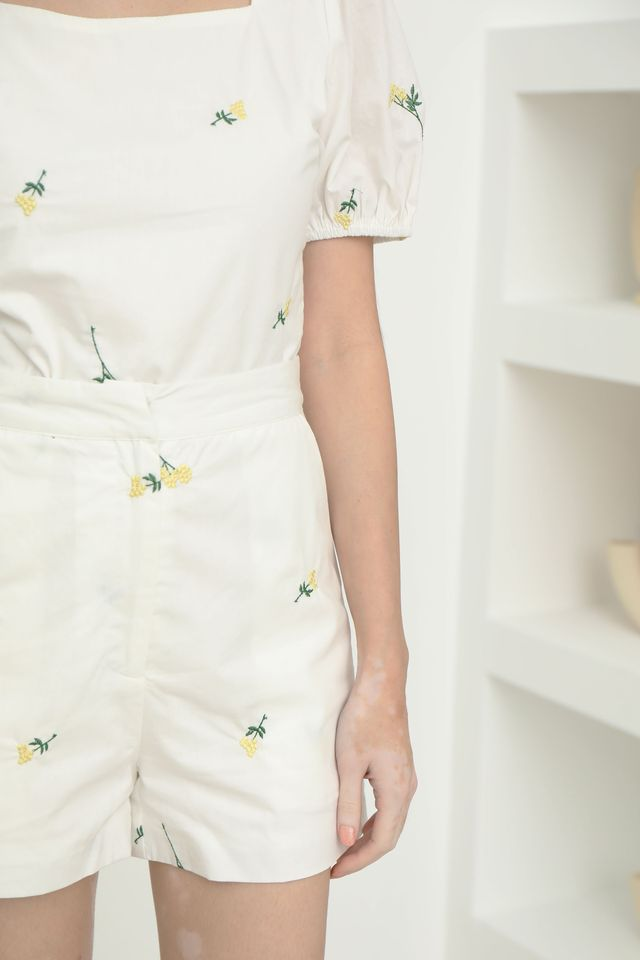 Embroidery Two Piece Set in White