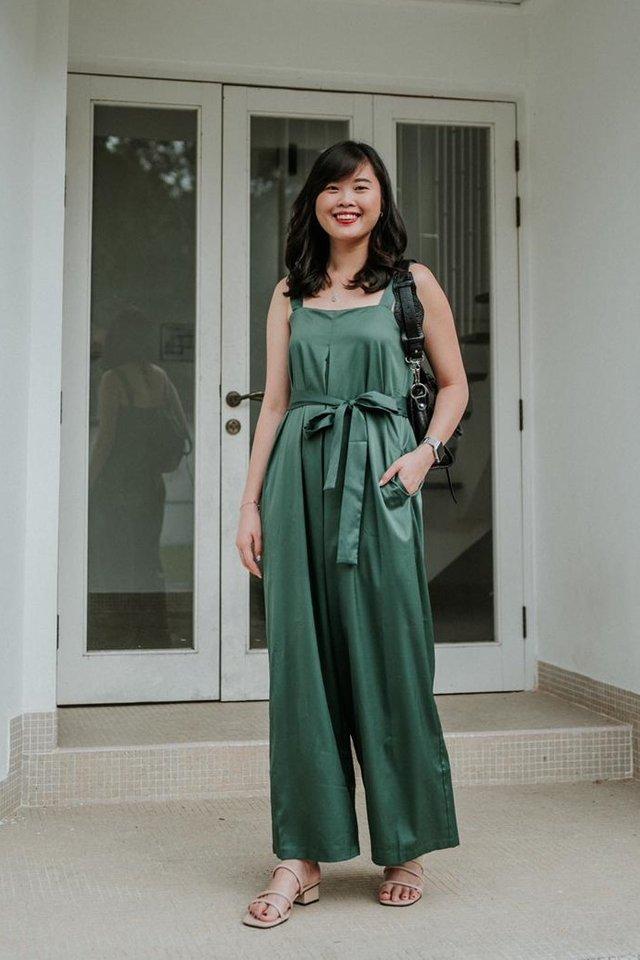 Trish Wide Leg Jumpsuit in Emerald
