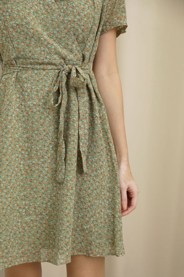 Claudie Floral Dress in Pickle