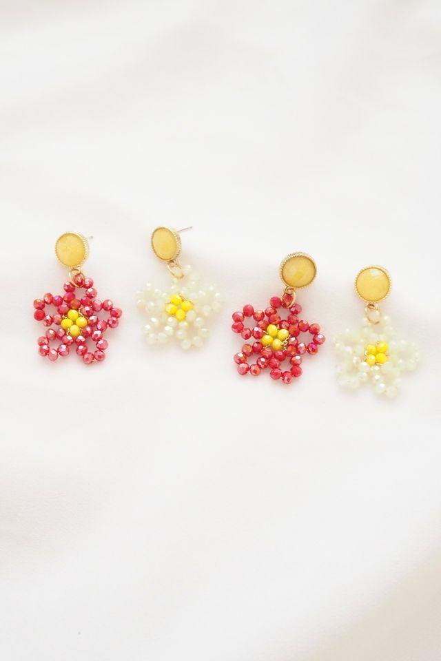 Beaded Flower Earstuds in White