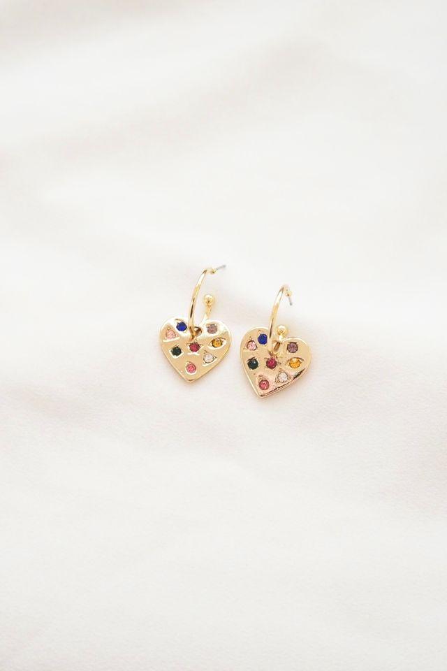 Gemstone Heart Hoops