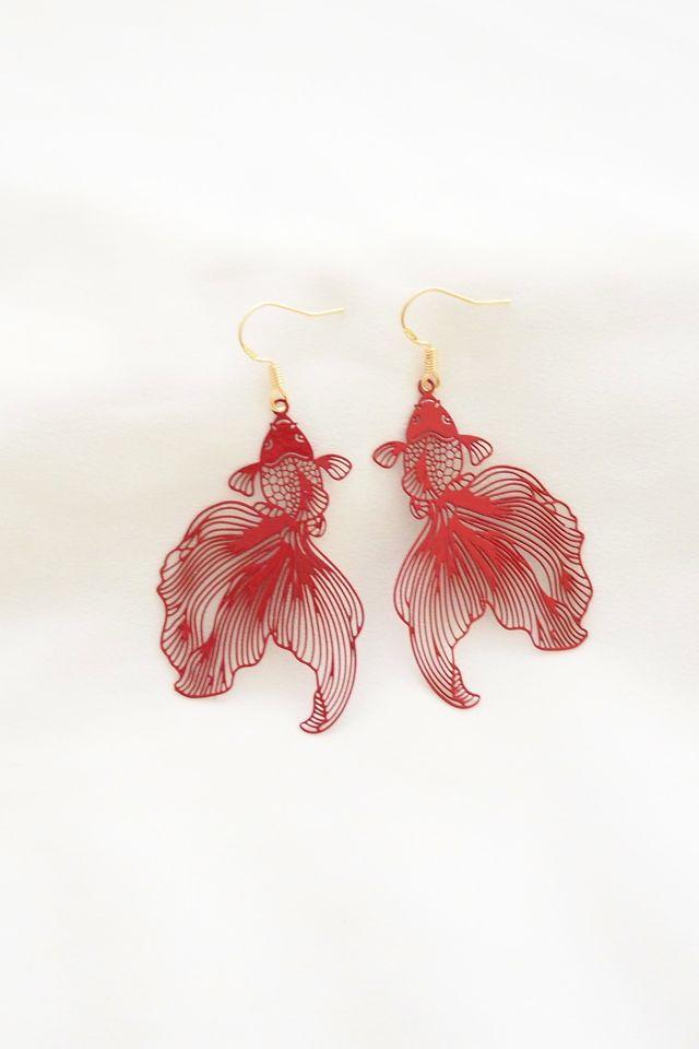 Goldfish Cutout Earrings in Red