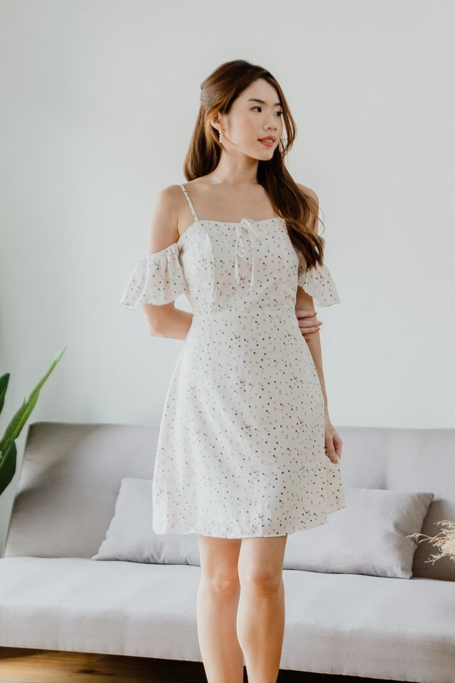Cute Hearts Drop Shoulder Dress in White