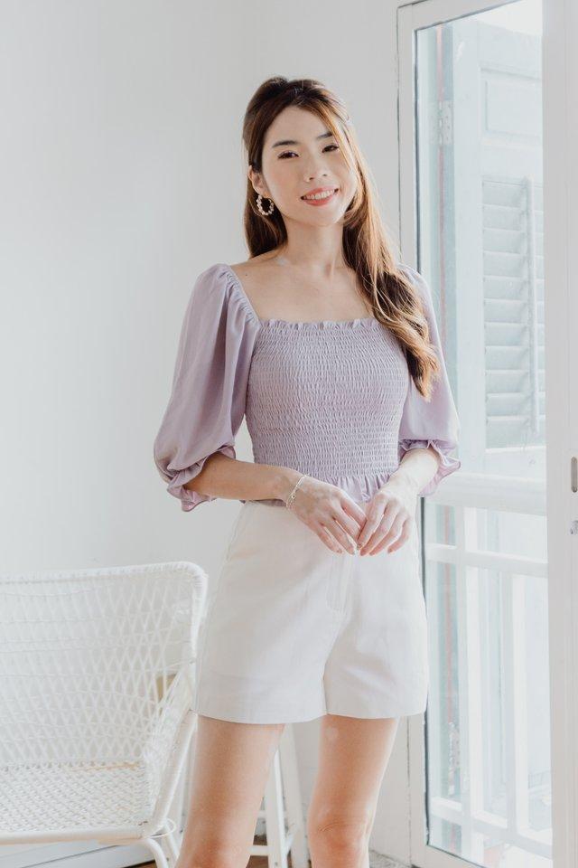 Jara Smocked Top in Lilac Grey