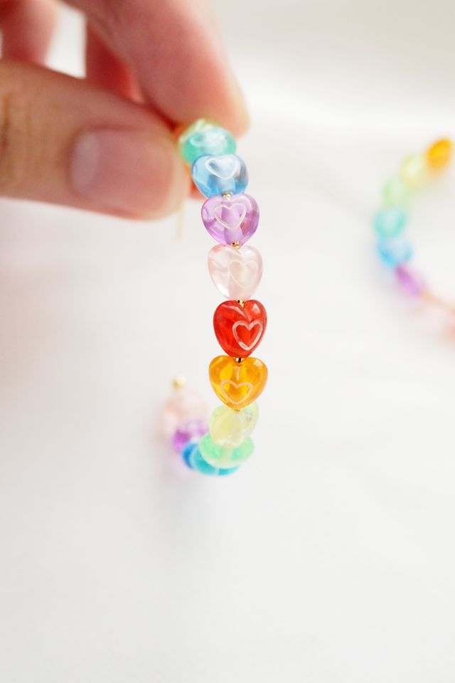 Rainbow Heart Hoops