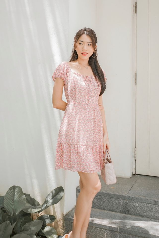 Ina Two Way Floral Dress in Pink