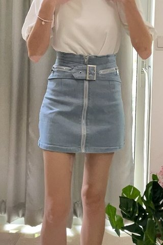Belt Detail Denim Skirt