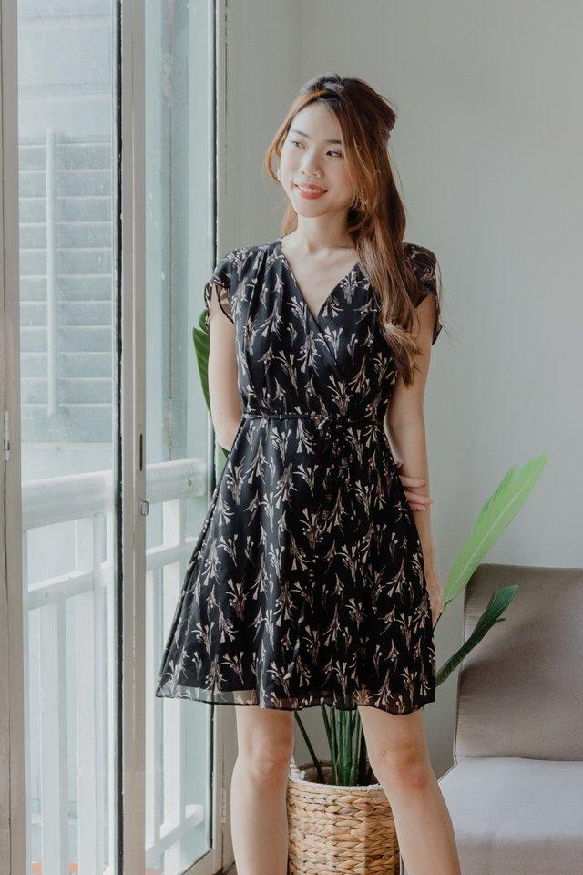Ciel Floral Dress in Black