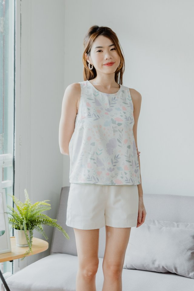 Reversible Floral/Dots Top in White/Mint