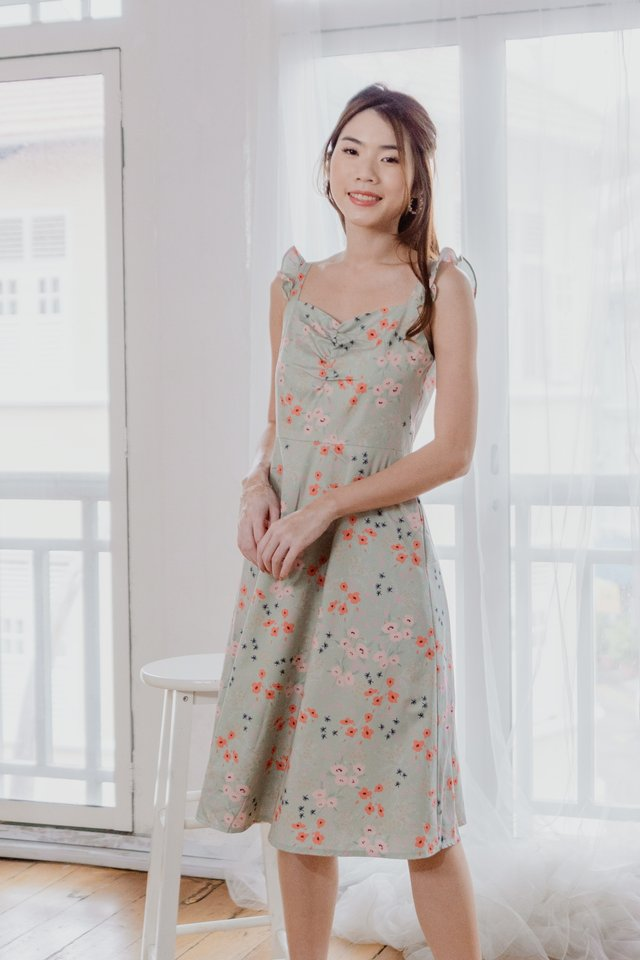Ruffle Straps Floral Dress in Sage