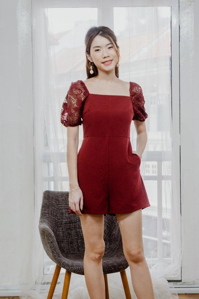 Lace Sleeves Romper in Maroon