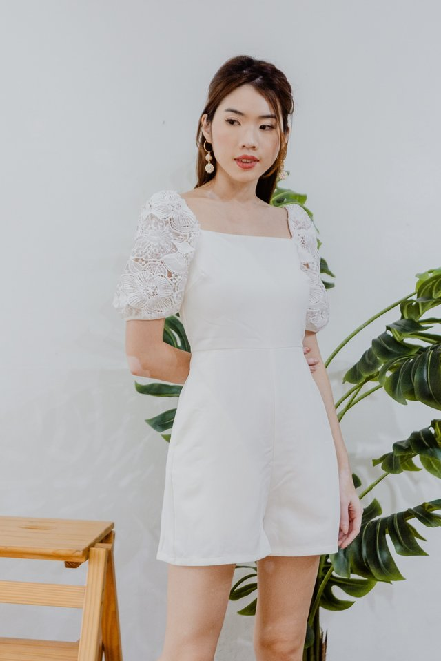 Lace Sleeves Romper in White
