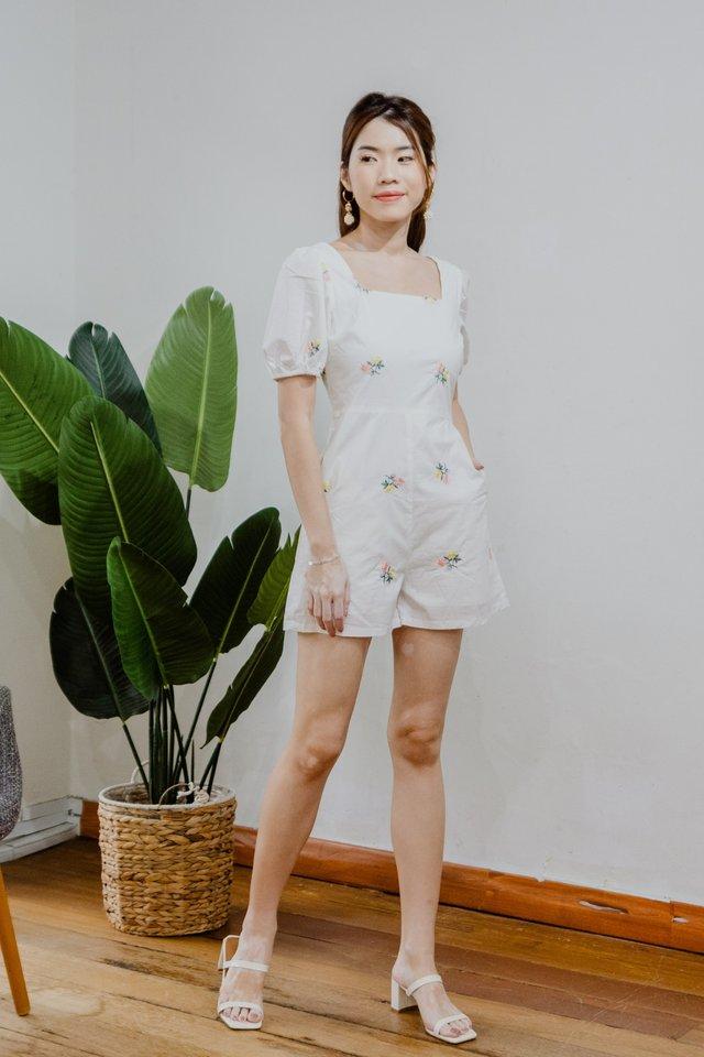 Embroidery Romper in White