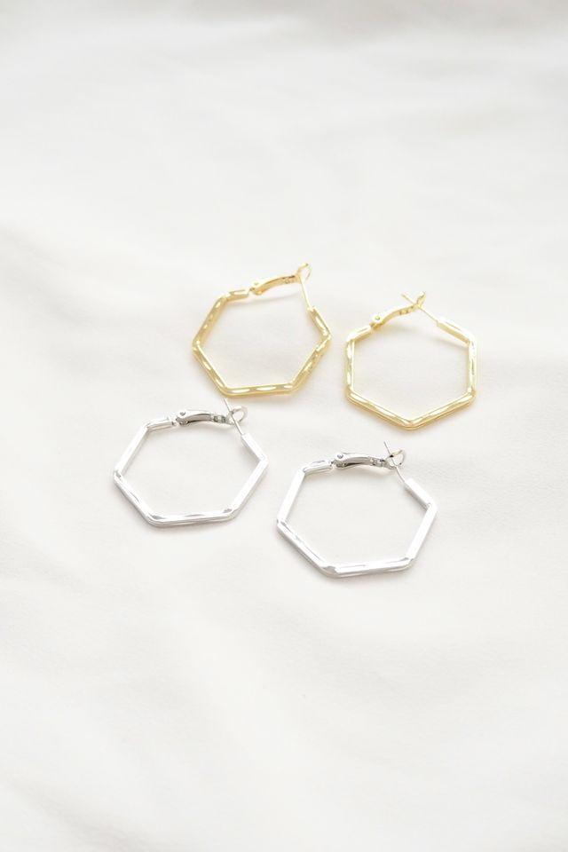 Hexagon Hoops in Silver