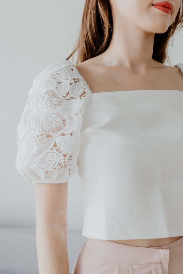 Lace Sleeves Top in White