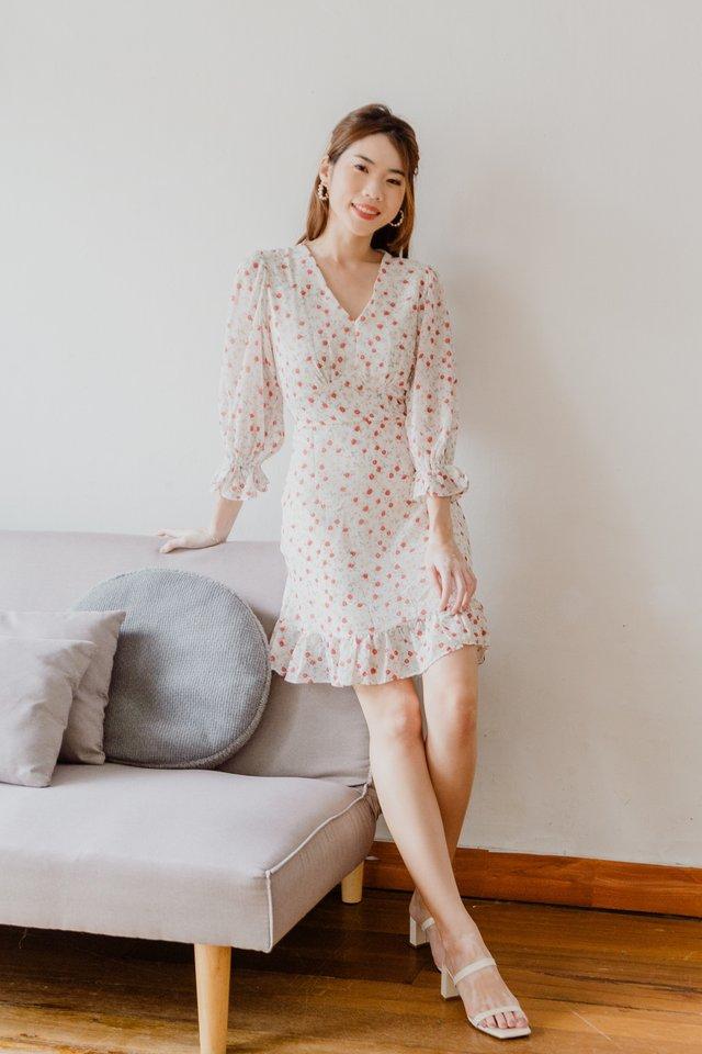 Misona Floral Dress in White