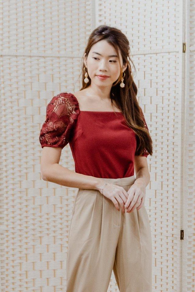 Lace Sleeves Top in Maroon